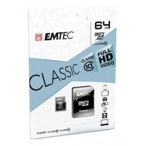 TARJETA EMTEC MICROSDHC 64GB CLASS10 CLASSIC+ ADAPT